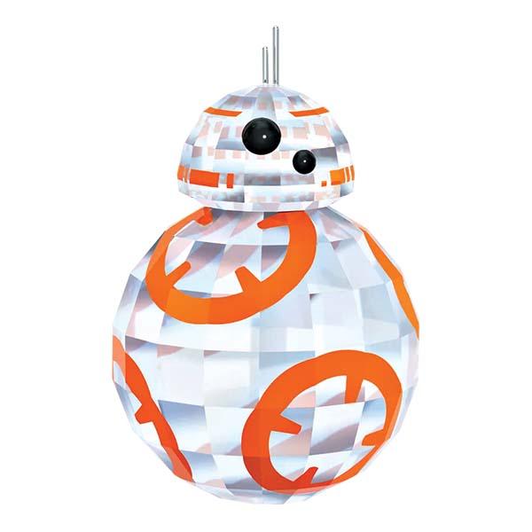 Enfeites de cristal do personagem BB-8 (R$ 579,00), R2-D2 (R$ 919,00) e C-3PO (R$ 1 150,00). Swarovski.