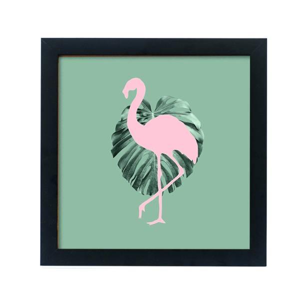 •Quadro Leaf Flamingo, de MDF com borda natural, no tamanho 20 x 20cm. Decohouse - R$39,90. Uma sugestão da MINHA CASA. Preço pesquisado em novembro/17