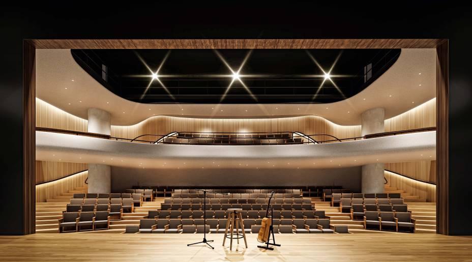 O teatro: 230 assentos e um palco de 450 metros quadrados