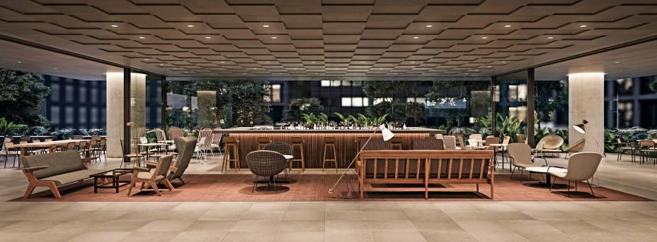 O bar: lobby lembra um hotel de luxo