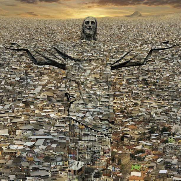 A imagem do Cristo Redentor se funde com o mosaico de casas
