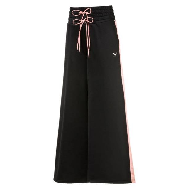 Calça pantalona com cintura alta por 249,90 reais.
