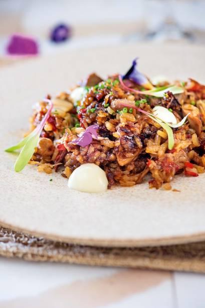 Arroz de pato com kimchi e aïoli