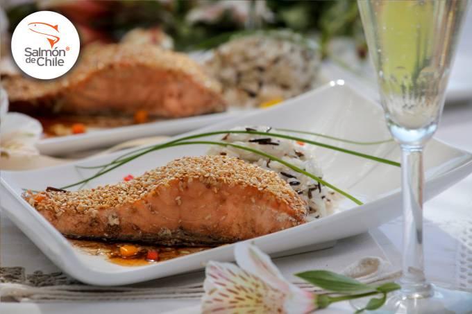 salmon costra sesamo
