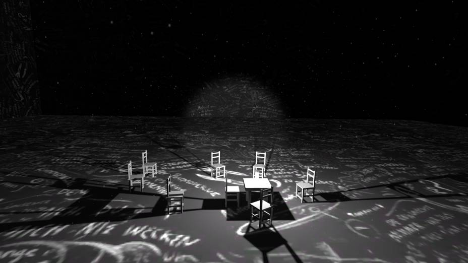 Um dos ambientes de Chalkroom, de Laurie Anderson