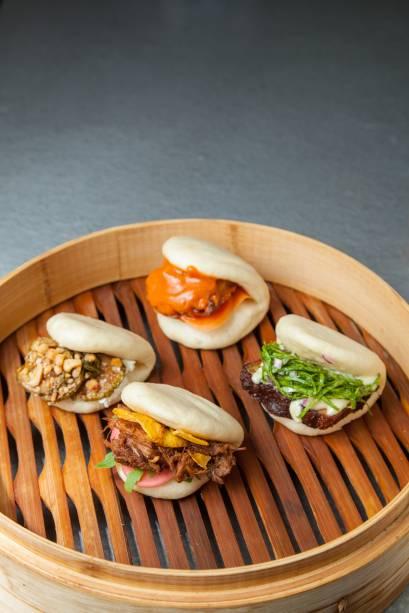O bao, pãozinho asiático: é uma base neutra que recebe diversos sabores