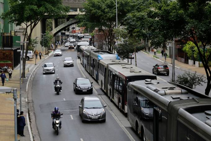 Protesto de motoristas de ônibus no centro de São Paulo