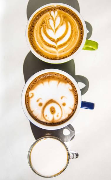 Variações com leite: cappuccino, mocha e mini coffee beer