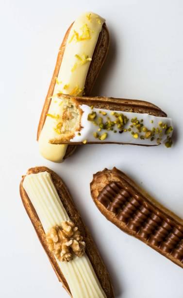 Éclairs: limão-siciliano, pistache, chocolate e nozes