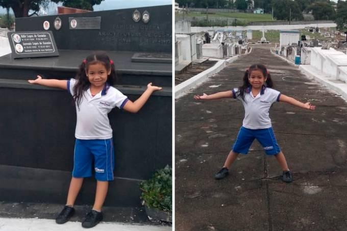 menina realiza sonho de conhecer cemitério