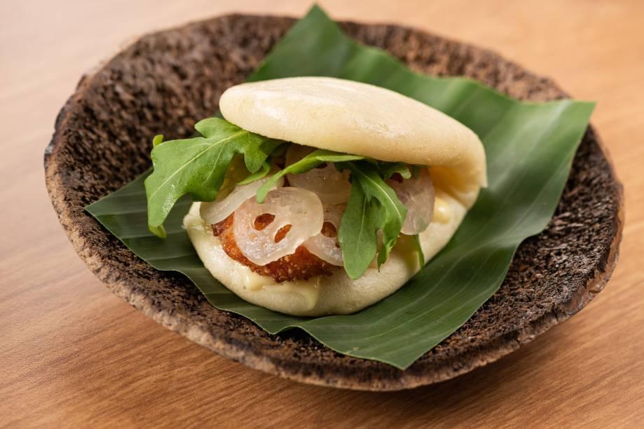 Bao: pãozinho chinês no vapor pode ser recheado com pirarucu, camarão ou tucumã
