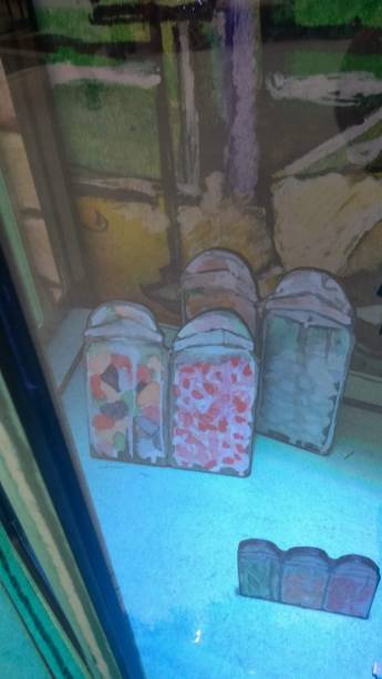 Detalhe da vitrine da Honeydukes, na Hogsmeade do Shopping Metrô Tatuapé