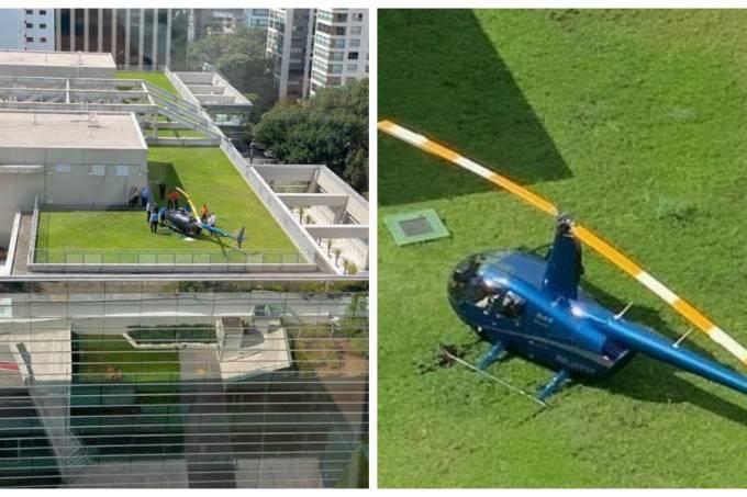 Helicóptero Faria Lima Itaú Pouso emergência