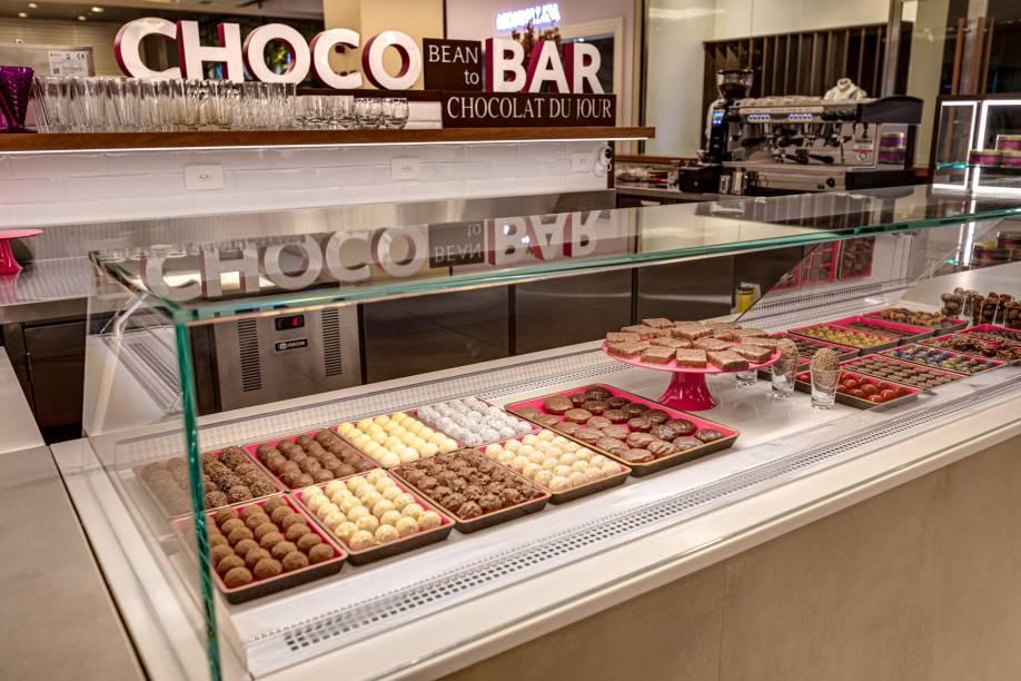 Quiosque da Chocolat du Jour: oferta variada