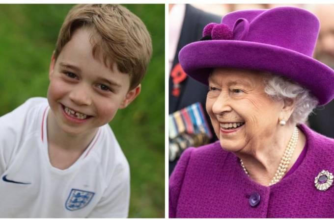 Príncipe George e Rainha Elizabeth