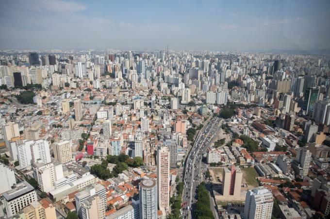 Vista aerea da cidade de São Paulo, rio Tietê, predios, São Paulo, cidade
