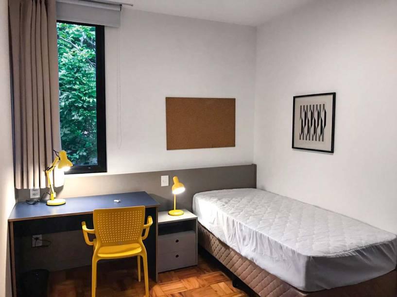 Quarto individual da Amora Residências: opção no Alto de Pinheiros