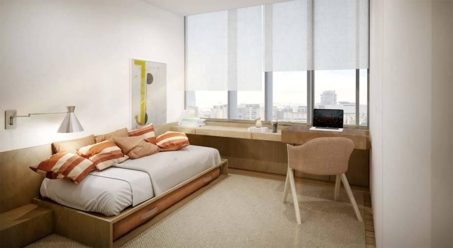 Trabalho em casa: espaço home office no quarto em projeto de Arthur Casas