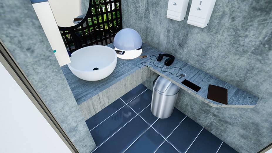 Área externa de higienização e local para descontaminação, onde deixar sapatos e objetos