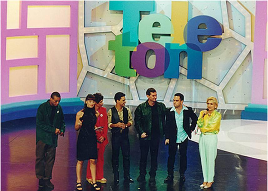 Silvio Santos e Hebe, que era madrinha do programa: sem plateia no SBT na edição 2020