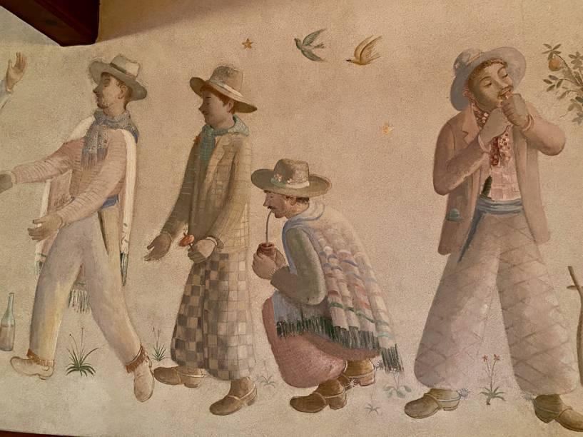 Murais de Fulvio Pennacchi, integrante do Grupo Santa Helena, decoram prédio principal: motivos rurais eram valorizados