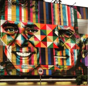 Mural Chico e Ariano na Fnac Pinheiros