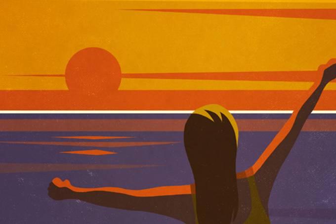 Saúde mental, por-do-sol, tranquilidade