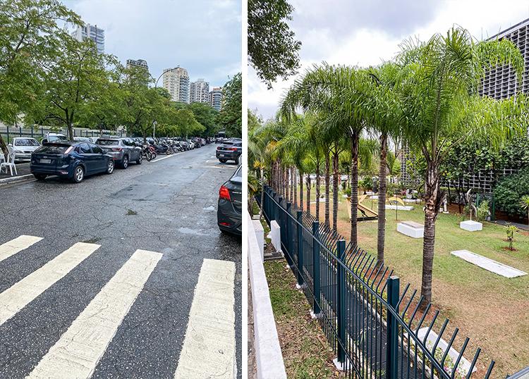 Vagas de estacionamento por todos os lados da Assembleia e calçadas isoladas: mau exemplo, que destoa do Plano Diretor