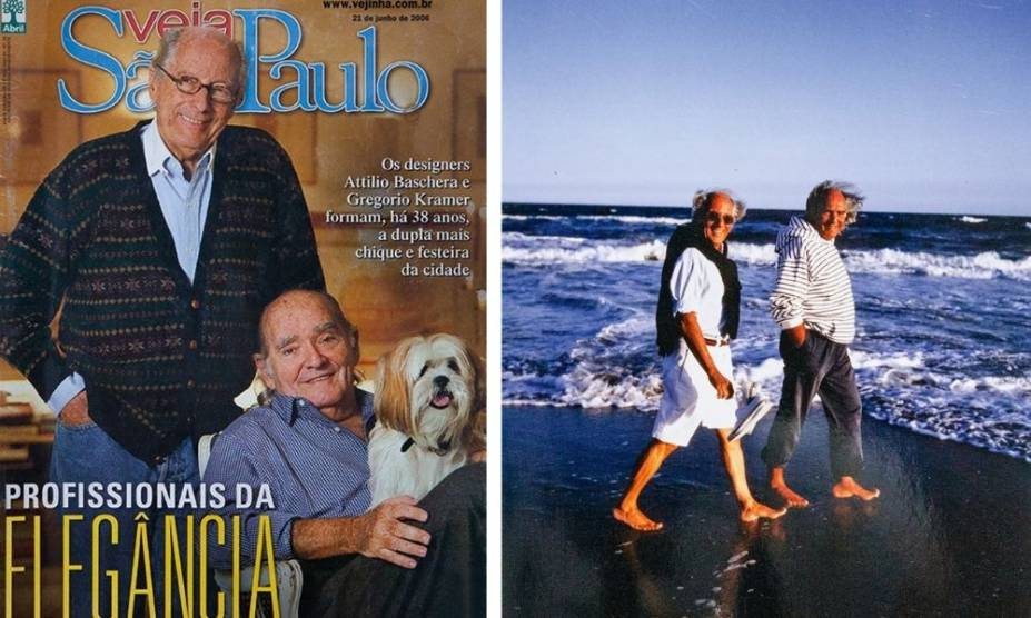 Capa da Vejinha com a dupla em 2006 (à esquerda): Attílio e Gregório em Punta del Leste (à direita)