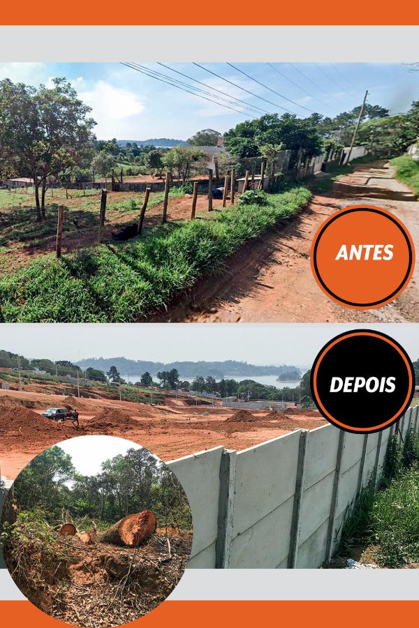 Imagem mostra o antes e o depois de um desmatamento na Estrada do Cumbica, nas margens da Represa de Guarapiranga