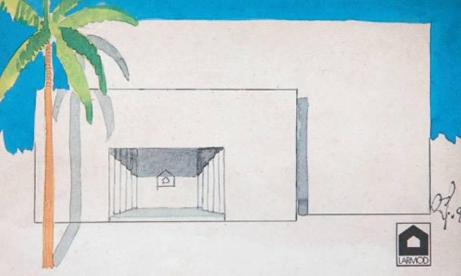 Larmod: um croqui feito por Attílio para fachada da loja da marca na Alameda Gabriel Monteiro da Silva