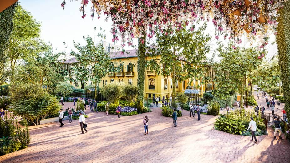 Projeto do Parque das Flores, área onde hoje passam carros na São Carlos do Pinhal