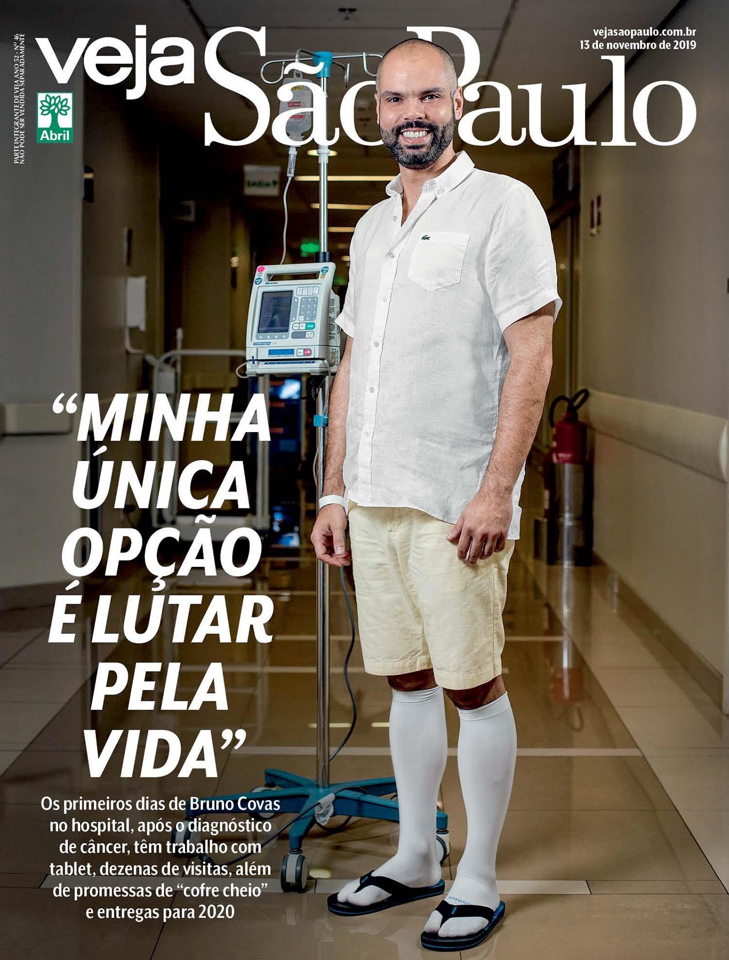 Bruno Covas, no hospital, em novembro de 2019