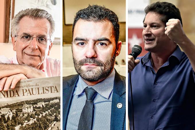 Os candidatos Andrea Matarazzo (PSD), Arthur do Val (Patriota) e Jilmar Tatto (PT)