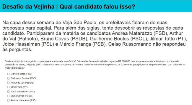 Desafio Vejinha: conheça as propostas dos candidatos à prefeitura de São Paulo
