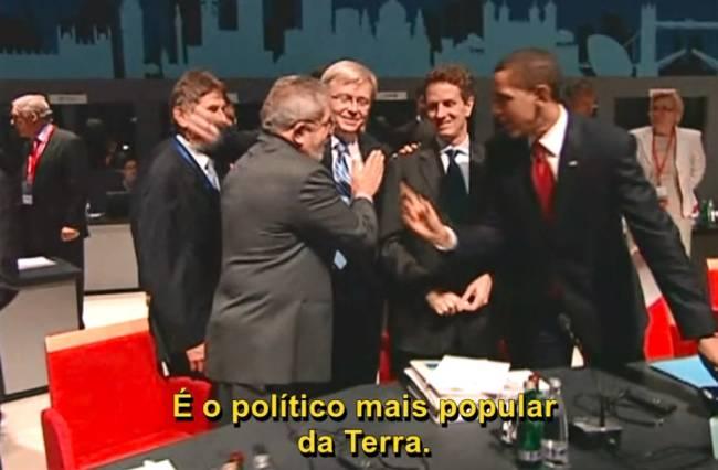 Cena do encontro em Lula e Obama no G20: encontro entre os ex-presidentes