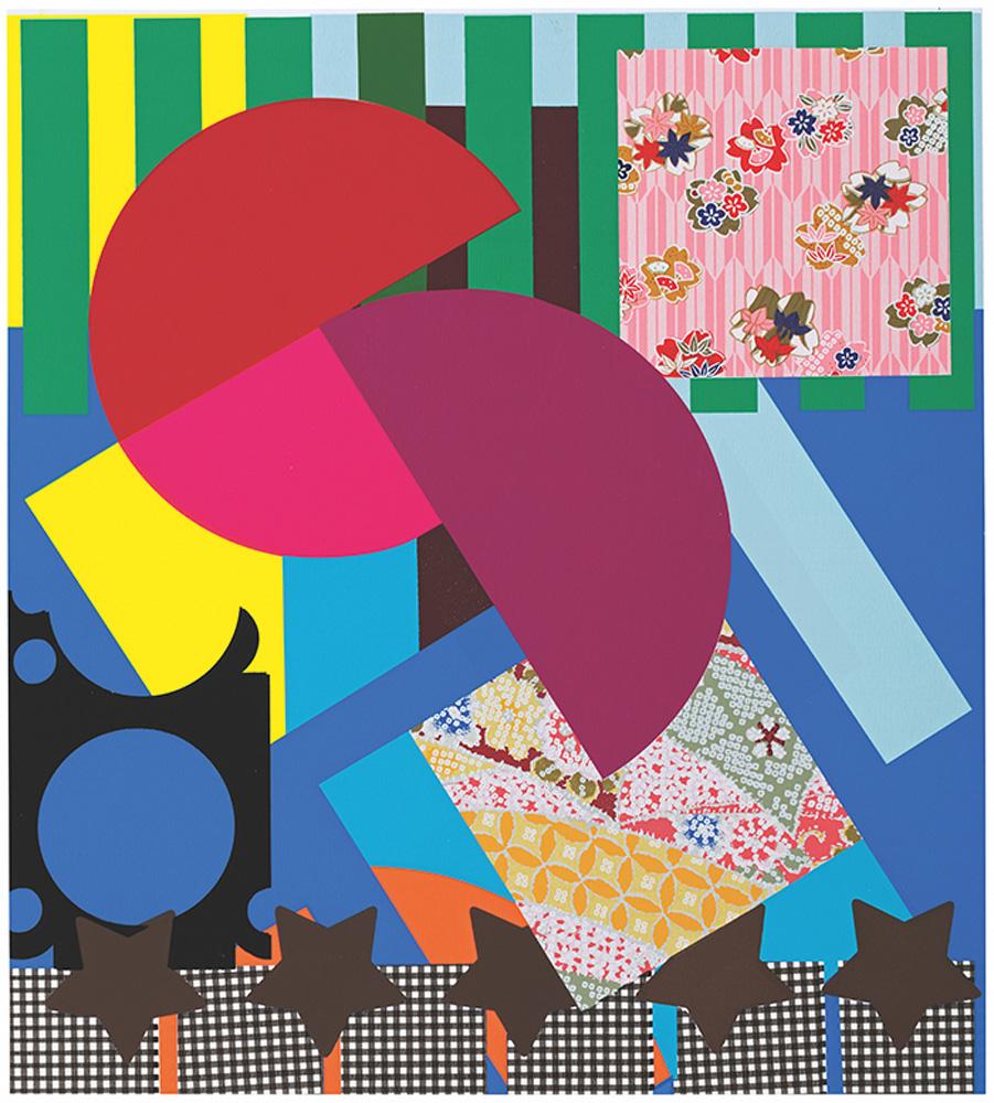 Flor de Margarida em Vermelho, Pink e Lilás (2019): coreografia de listras, retângulos, estrelas e círculos