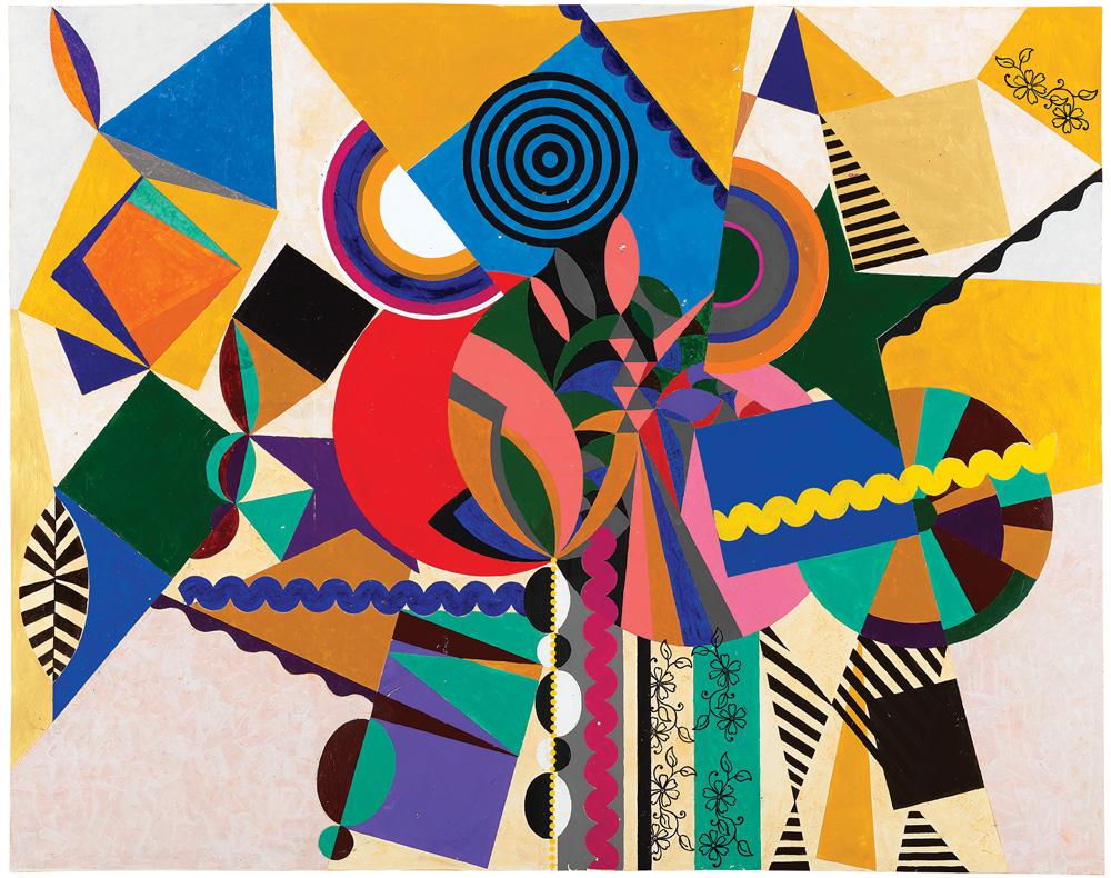 O Bailarino (2019): Na pintura de 2 metros de altura e 2,5 de largura, uma espécie de Kandinsky tropical, o adornamento barroco brinca com a geometria em favor da botânica