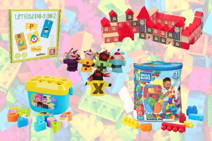 Blocos para montar, encaixar e construir, fantoches e aprendendo o alfabeto: brinquedos lúdicos
