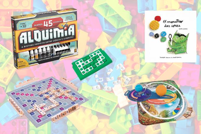 Para os mais velhos: kits de química e astronomia, jogo de lógica e livro para entender os sentimentos