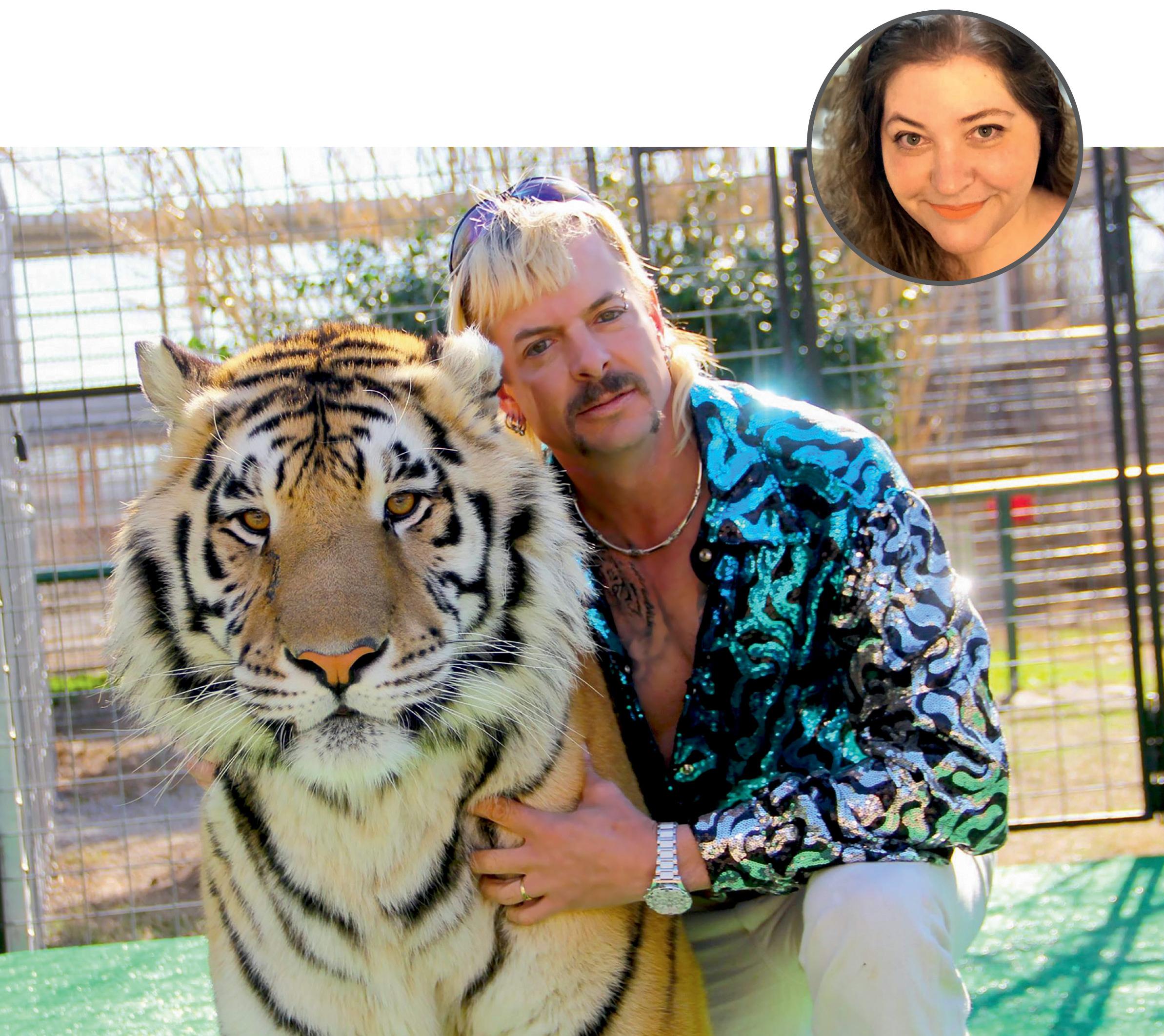 Foto de Alessandra com uma imagem ilustrativa da série A Máfia dos Tigres