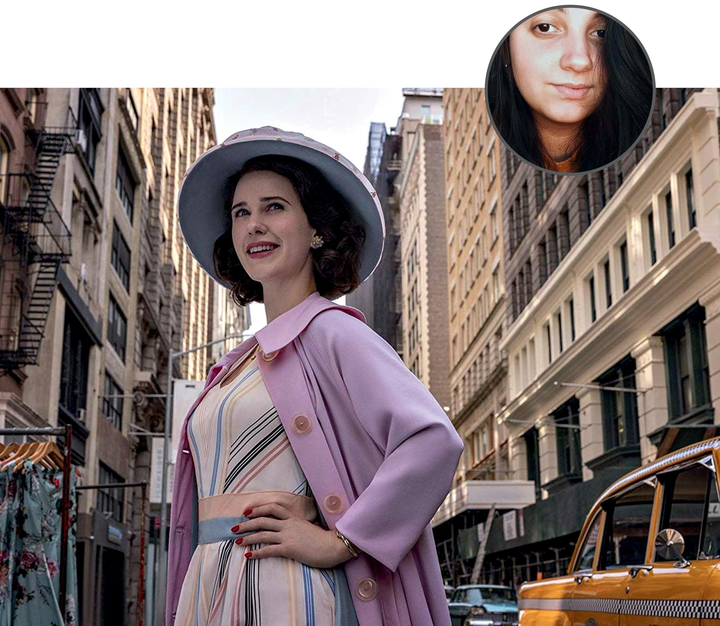 Foto de Alice com uma imagem ilustrativa da série The Marvelous Mrs. Maisel