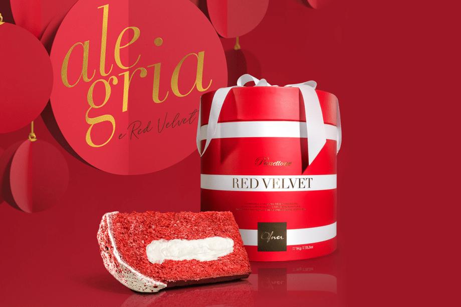 Alegria: Panettone Red Velvet (1 kg) – Tradicional e deliciosa receita italiana de massa avermelhada de fermentação natural, recheada com levíssimo cream cheese adocicado, coberto com chocolate branco e polvilhado com massa red velvet. (R$ 99)