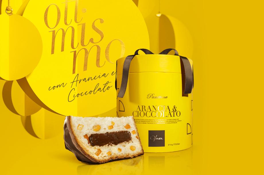 Otimismo: Panettone Arancia & Cioccolato (1 kg) – Massa de fermentação natural, recheada com pedaços de laranjas italianas, creme trufado e com cobertura de chocolate belga. (R$ 99)