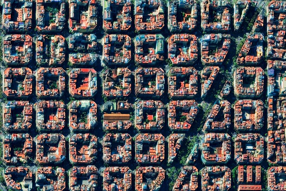 BARCELONA, SPAIN - NOVEMBER 9, 2016: DigitalGlobe via Getty Images satellite imagery of Barcelona, Spain.