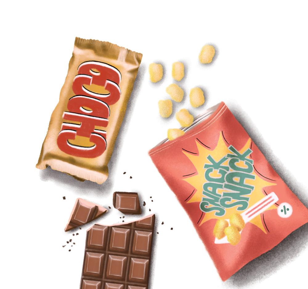 Uma embalagem de chocolate, uma de salgados e um chocolate em barra partido