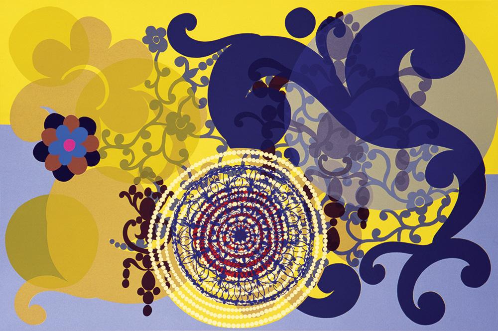 Cabeça de Mulher (1996): serigrafia com círculos e arabescos