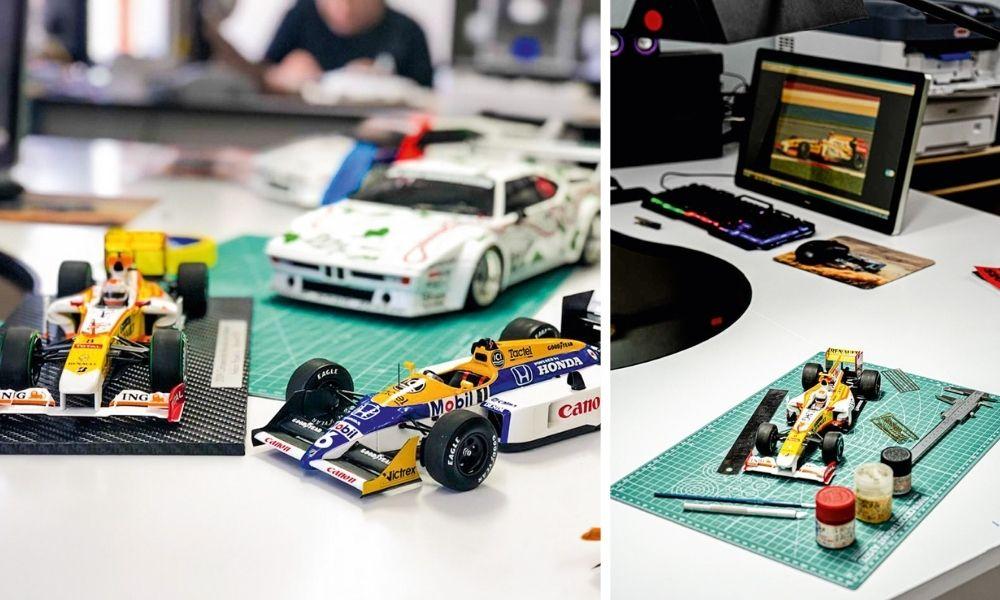 Miniaturas dos carros de corrida