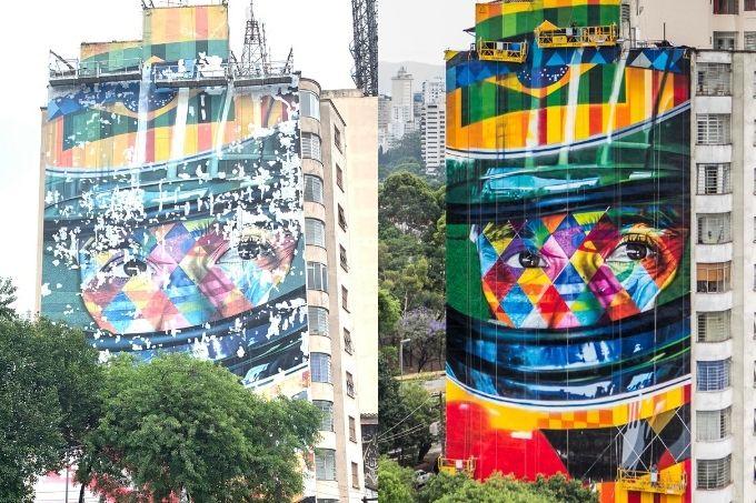 Mural Ayrton Senna: pintura feita em 2015 sofreu desgastes com o passar dos anos e acaba de ser restaurada; artista ainda fará retoques finais