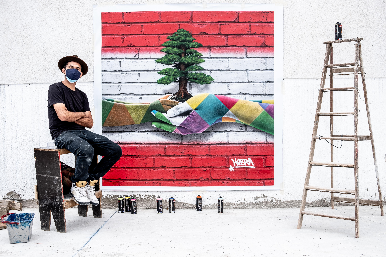 Eduardo Kobra faz painel para ser leiloado às vítimas de tragédia no Líbano.